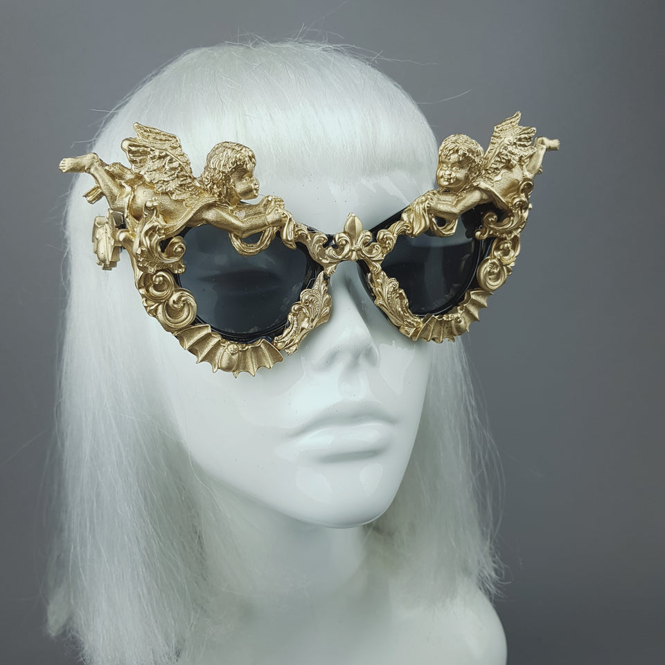 """Kalma"" Gold Filigree & Bat Ornate Sunglasses"