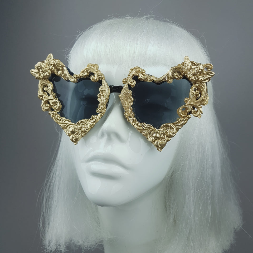 """Heart of Darkness"" Gold Filigree Ornate Sunglasses"