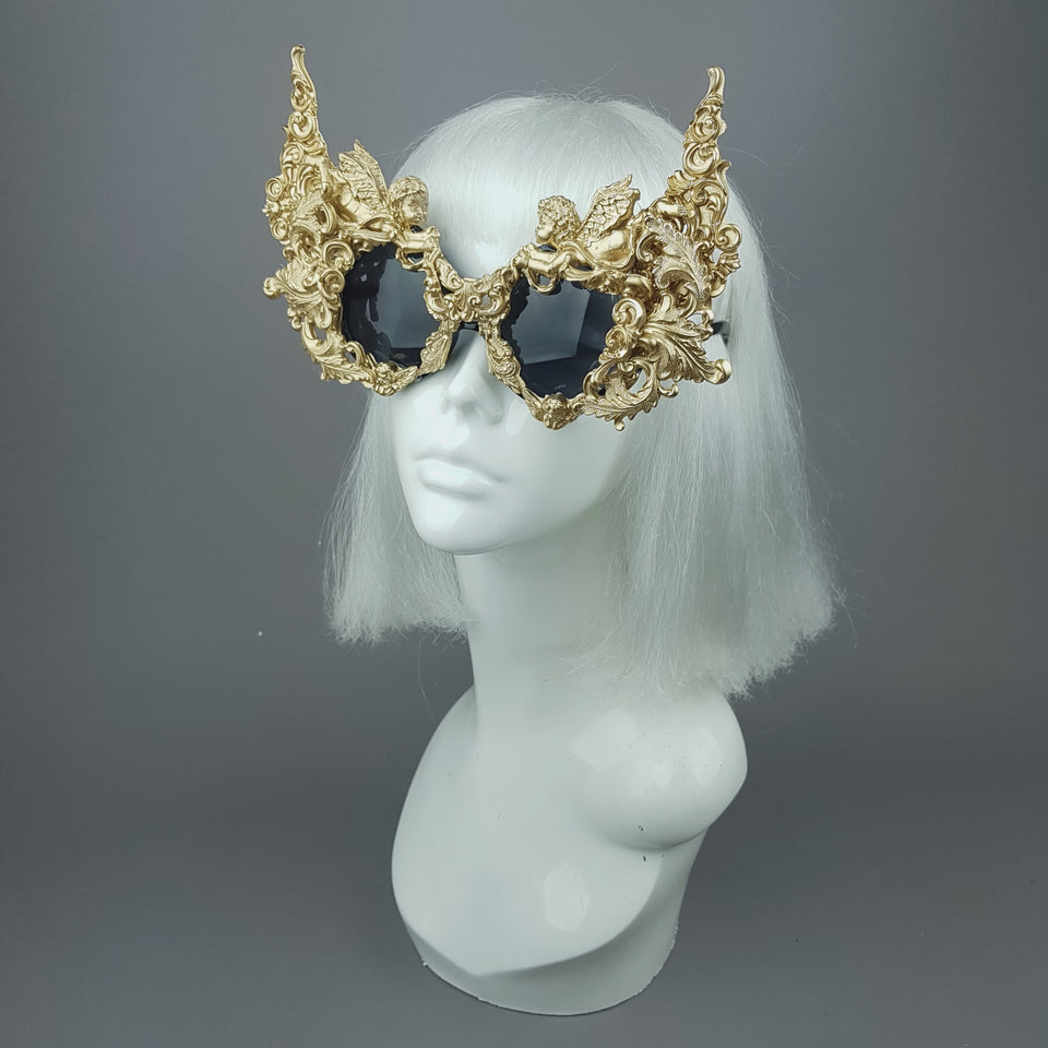 """Gothica"" Gold Filigree Ornate Sunglasses"