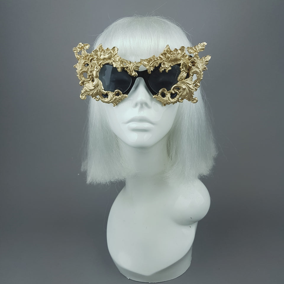 """Lamia"" Gold Filigree Catseye Sunglasses"