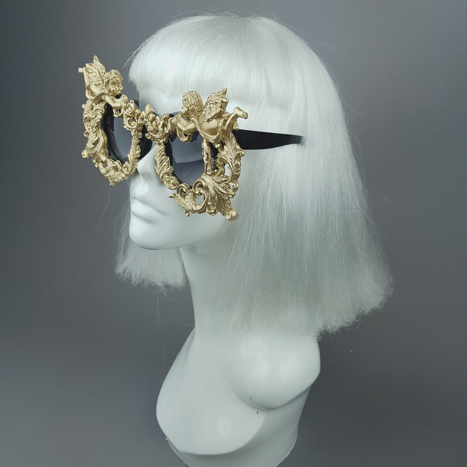 """Seraphim"" Gold Filigree Ornate Cherub Sunglasses"