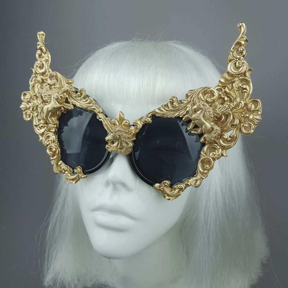 """Mystique"" Gold Unicorn Filigree Sunglasses"