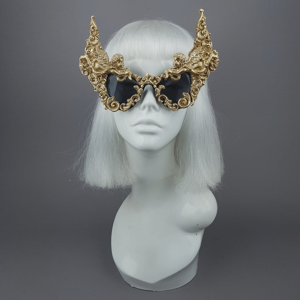 """Decadence"" Outrageous Gold Filigree Sunglasses"