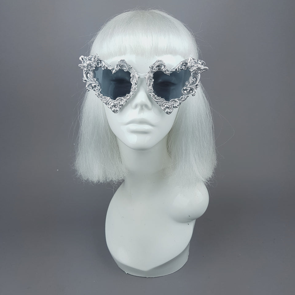 """Heart of Darkness"" Silver Filigree Ornate Sunglasses"