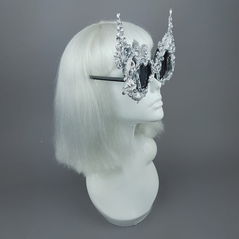 """Gothica"" Silver Filigree Ornate Sunglasses"