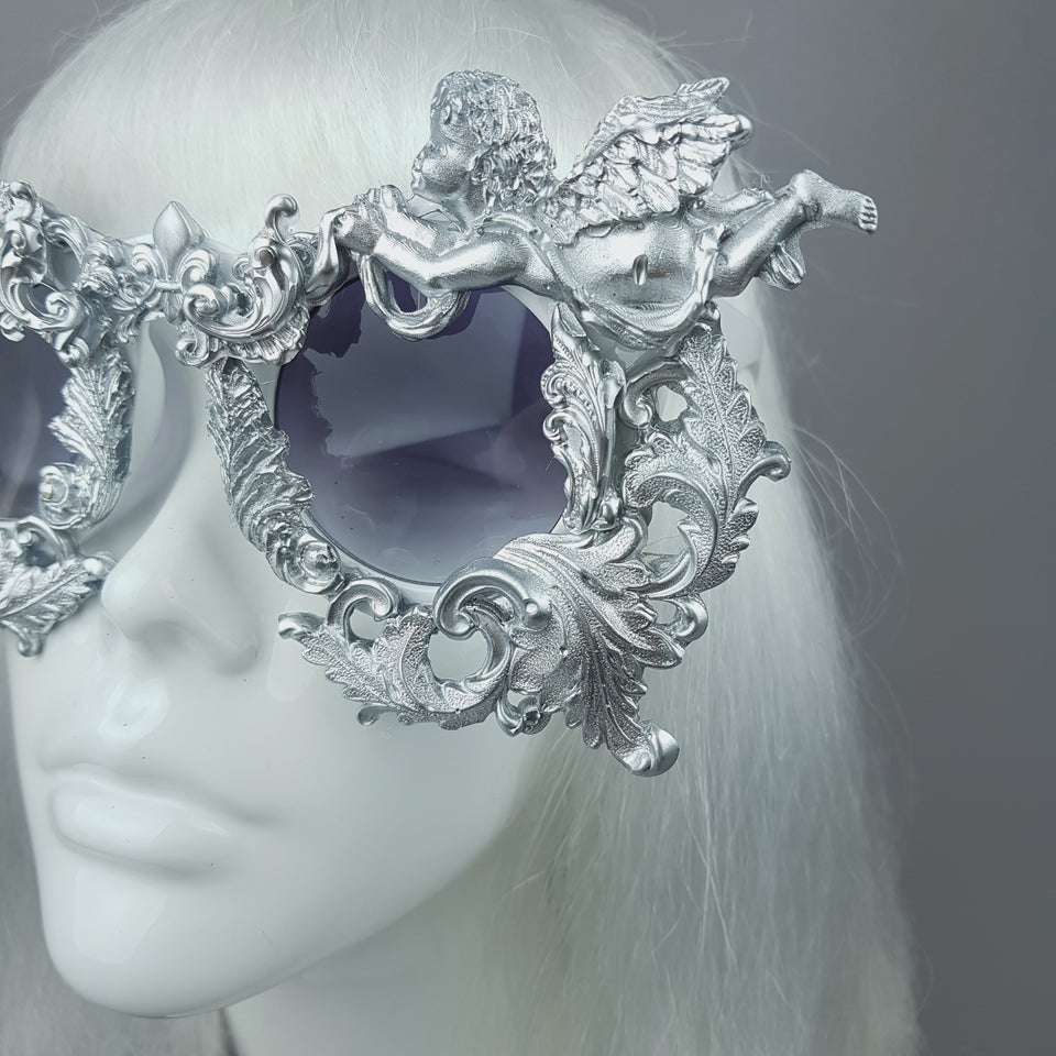 """Seraphim"" Silver Filigree Ornate Cherub Sunglasses"