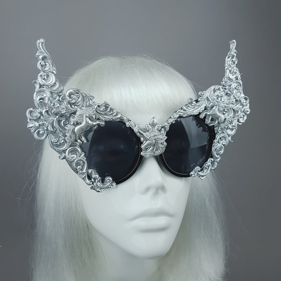 """Mystique"" Silver Unicorn Filigree Sunglasses"