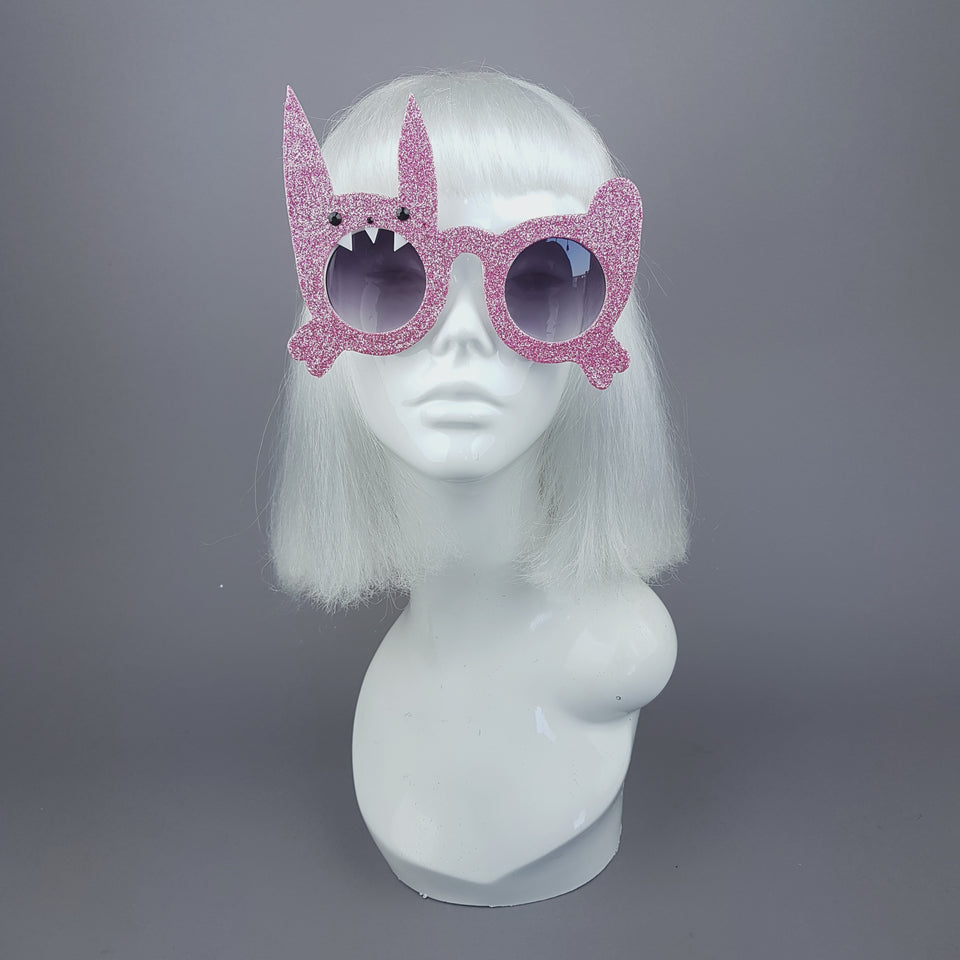 """Bitey The Bunny"" Pink Glitter Rabbit Sunglasses"