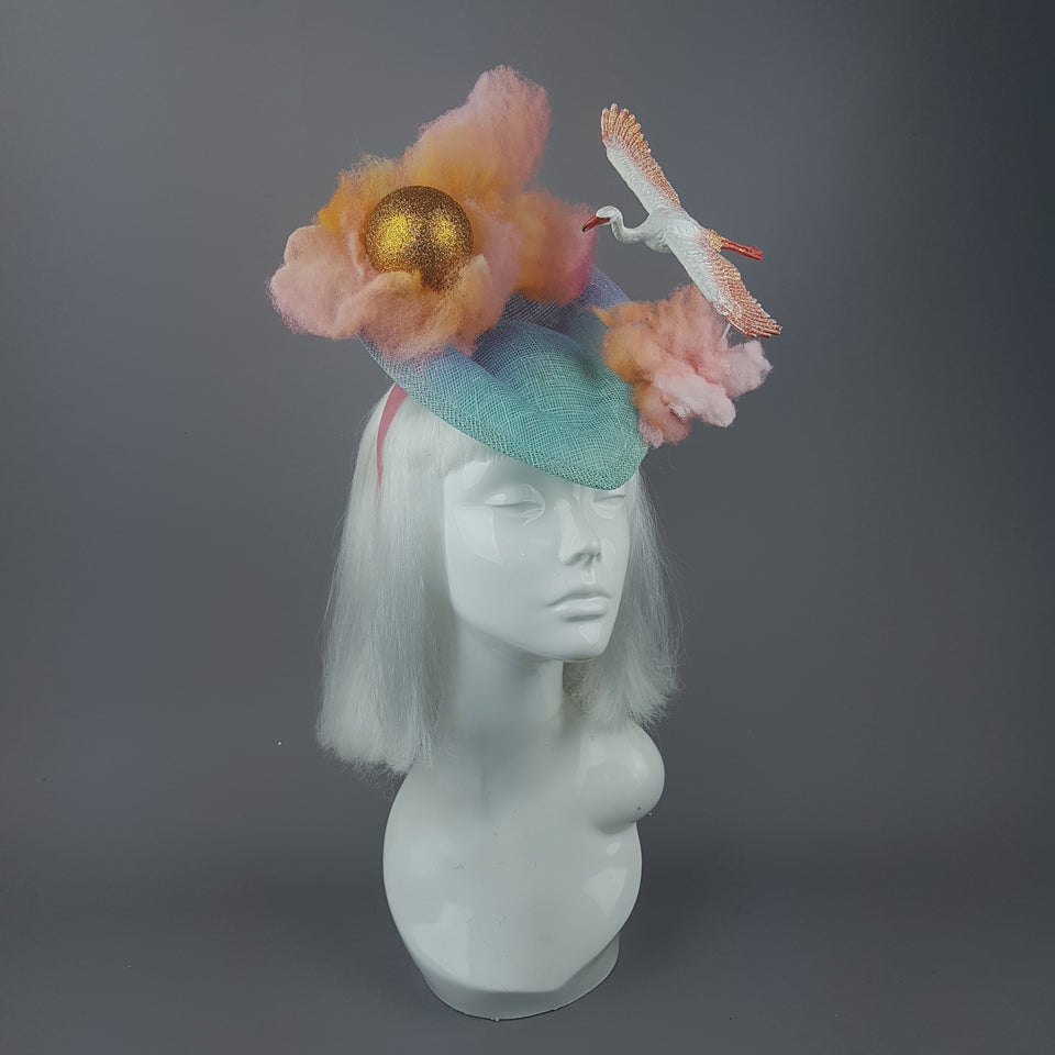 """Dusk"" Sunset Sun, Clouds & Flamingo Fascinator Hat"