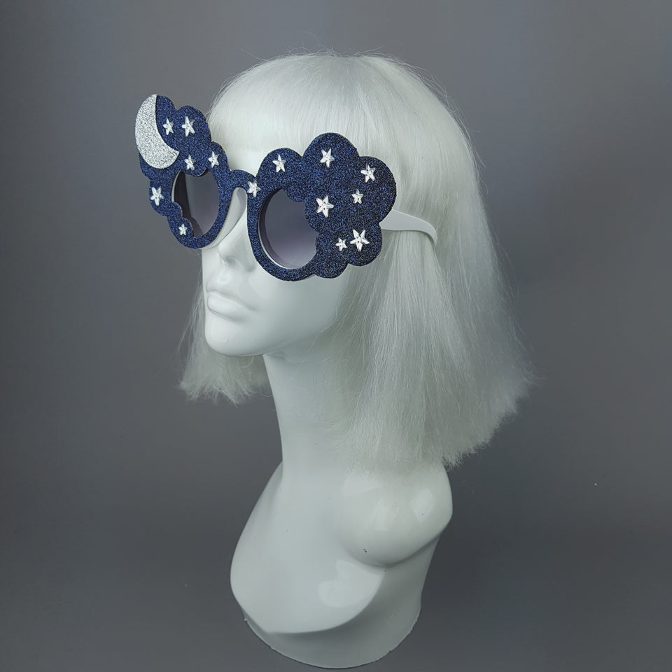 """Bewitch"" Glitter Moon, Stars & Cloud Sunglasses"
