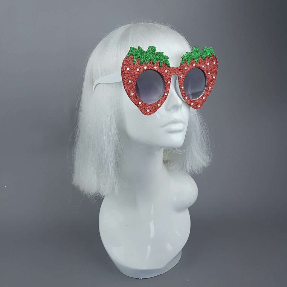 """Cupcake"" Strawberry Glitter Novelty Fancydress Sunglasses"