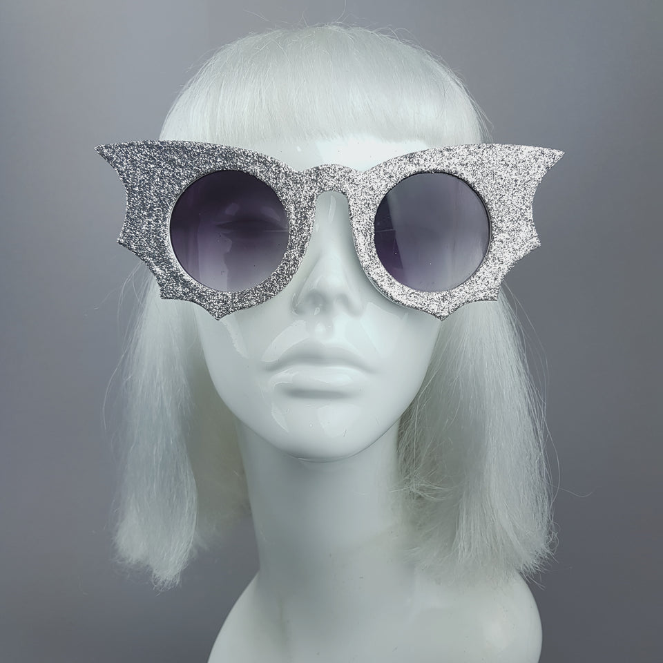 """Moonlit"" Silver Glitter Bat Wing Sunglasses"