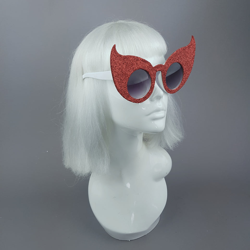 """Hex"" Red Glitter Devil Horn Sunglasses"