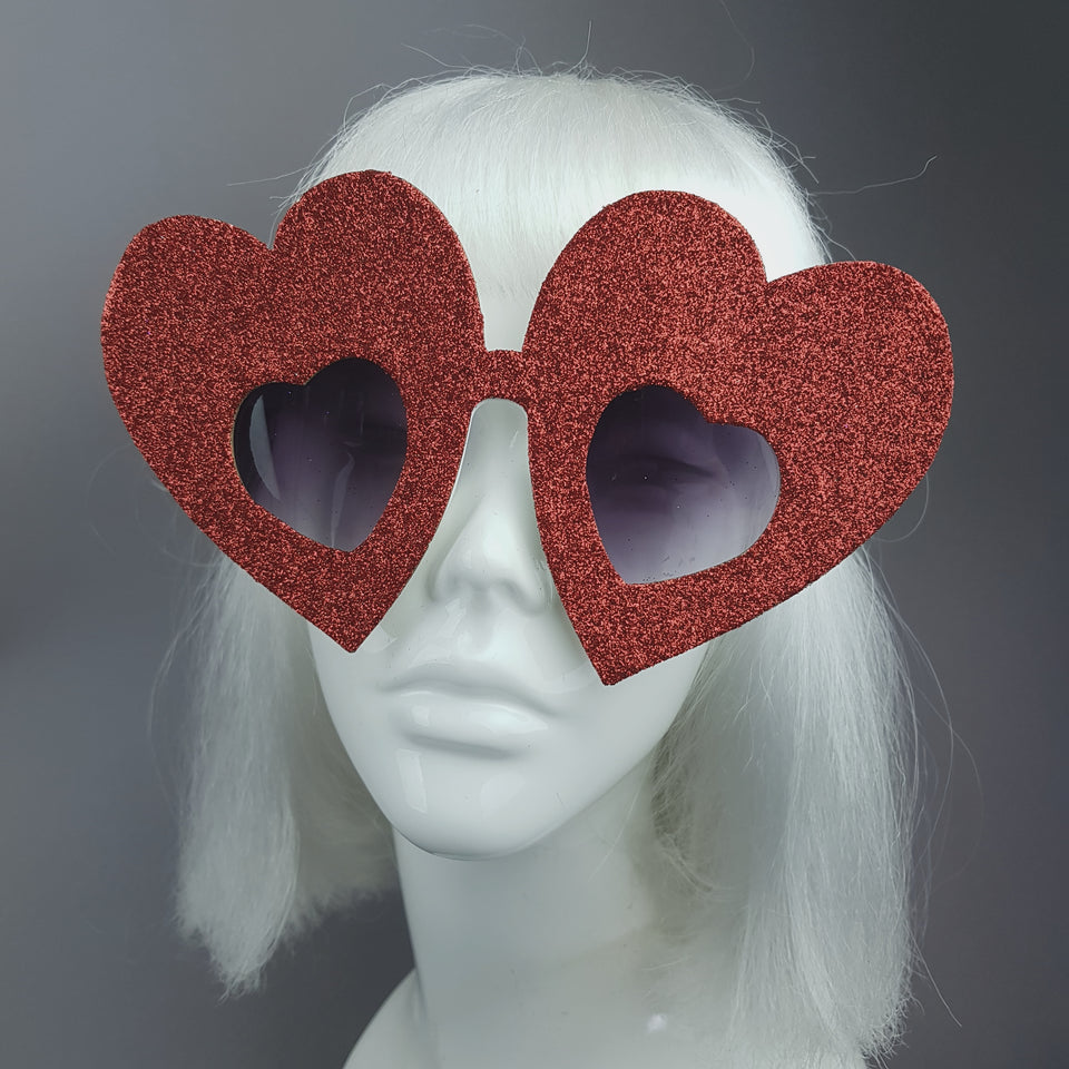 """Queen of Hearts"" Red Glitter Heart Sunglasses"