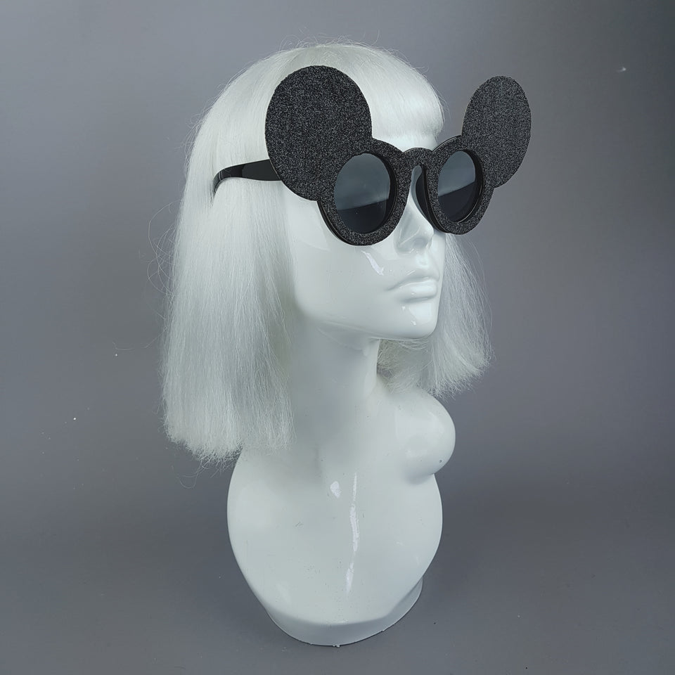 """Topo"" Black Glitter Mouse Ear Sunglasses"