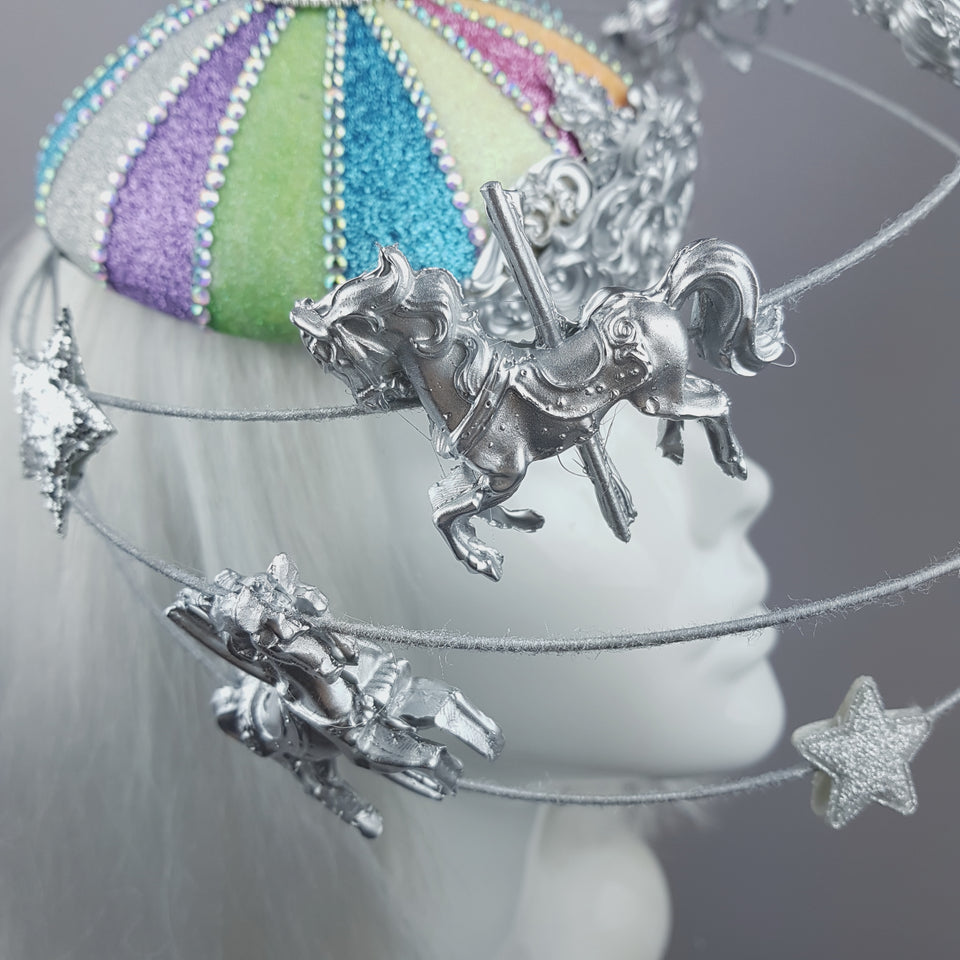 """CandyFloss Dreams"" Pastel Circus Carousel Wired Veil Hat"