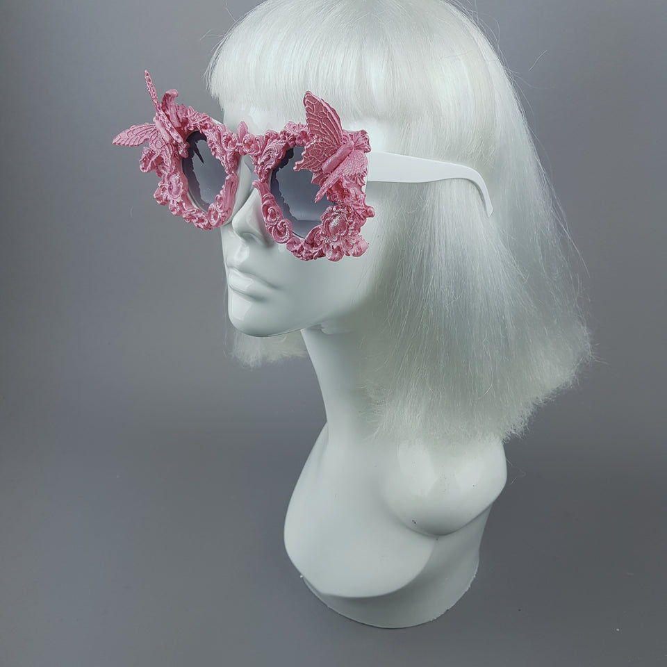 """Bellamira"" Pink Glitter Filigree & Butterfly Sunglasses"