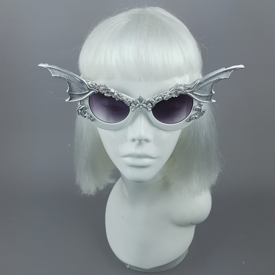 """Vamp"" Silver Bat Wing Filigree Catseye Sunglasses"