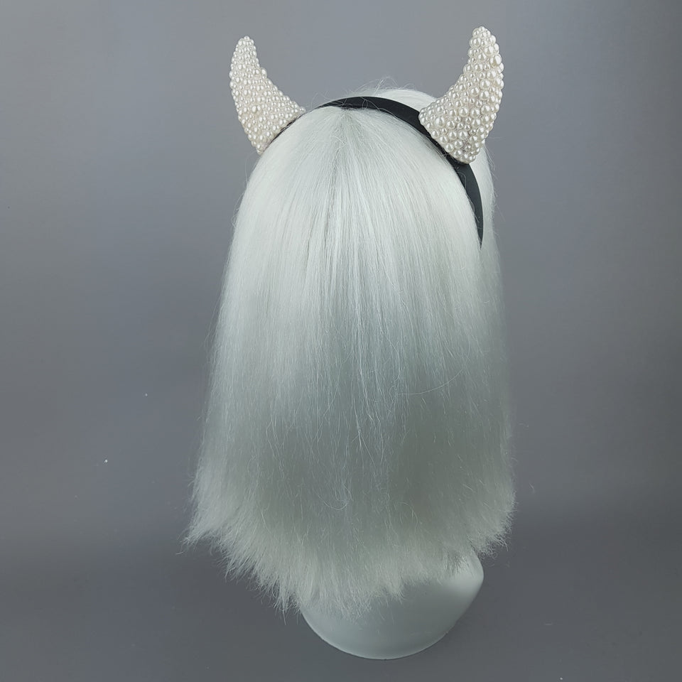 """Suspiria"" Pearl Devil Horns Headband"