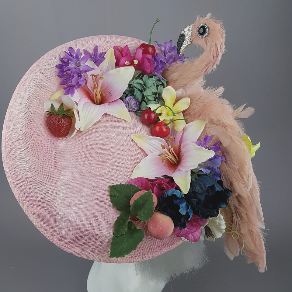 """Perdita"" Feather Flamingo, Flower & Fruit Fascinator Hat"
