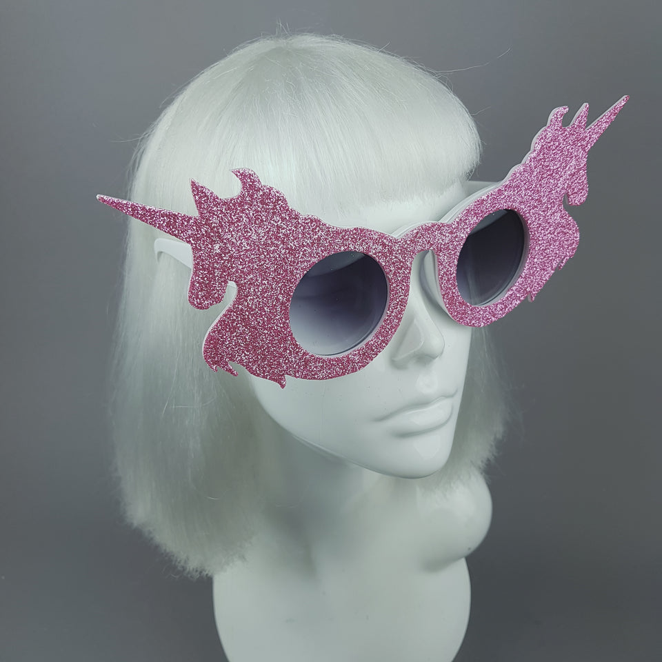 """Believe"" Pink Glitter Unicorn Sunglasses"