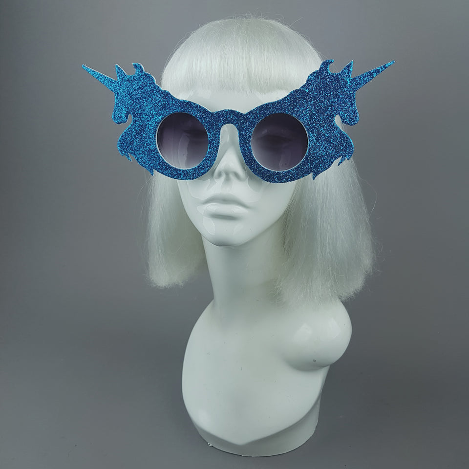 """Believe"" Blue Glitter Unicorn Sunglasses"