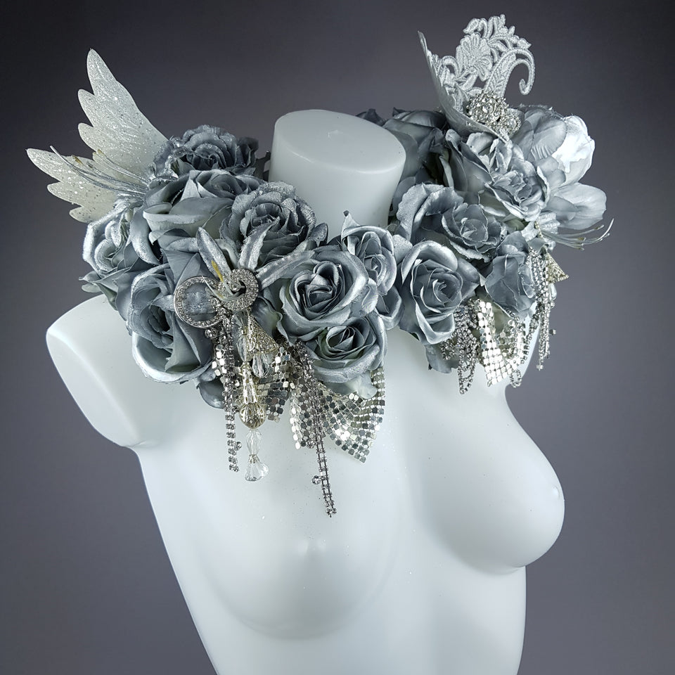 """Angelus"" Silver Rose, Angel Wing Moulded Shoulder/Neckpiece"