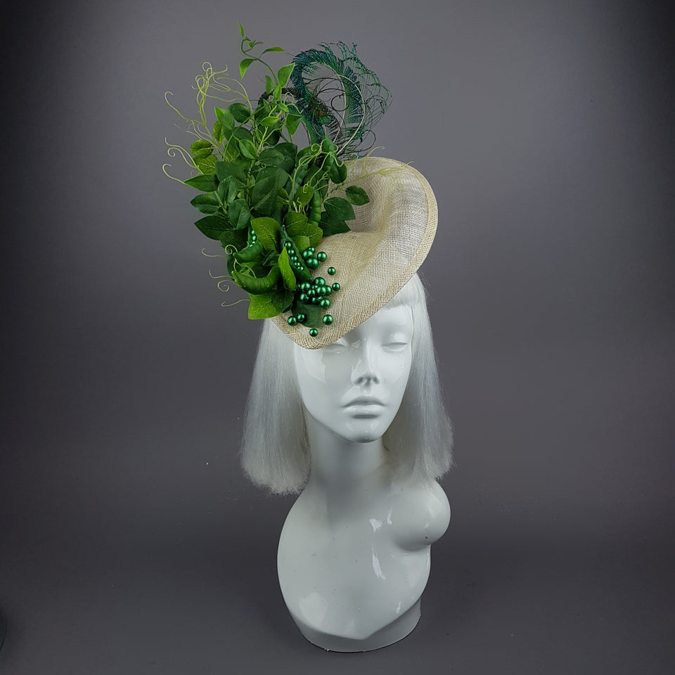"""Petit Pois"" Peas, Peapod and Leaf Fascinator Hat"