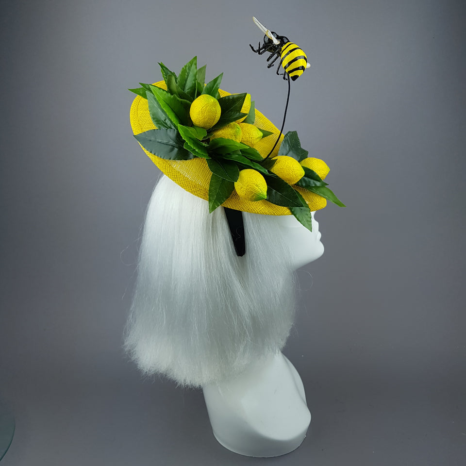 """Zest"" Lemon & Bee Fascinator Hat"