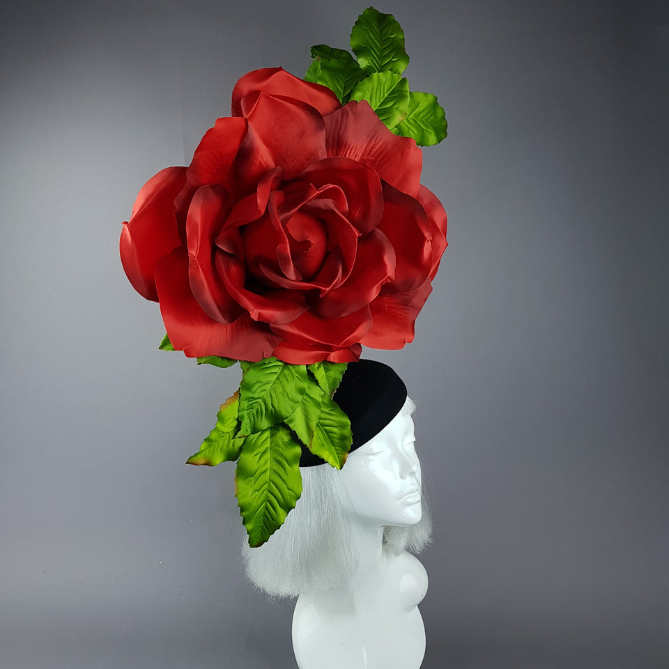 """Coming Up Roses"" Giant Red Rose Fascinator Hat"