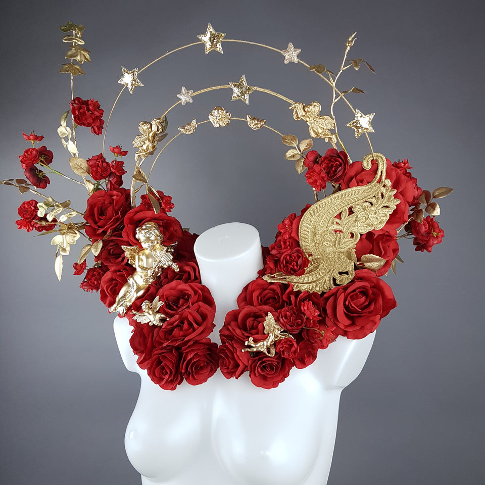 """Inferno"" Red Rose, Cherub Halo Moulded Shoulder/Neckpiece"