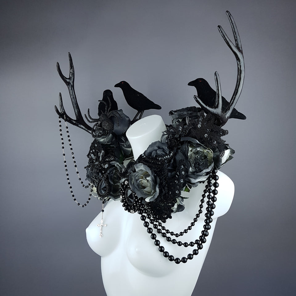 """Corvum Noir"" Dark Rose, Antlers and Raven Moulded Shoulder/Neckpiece"