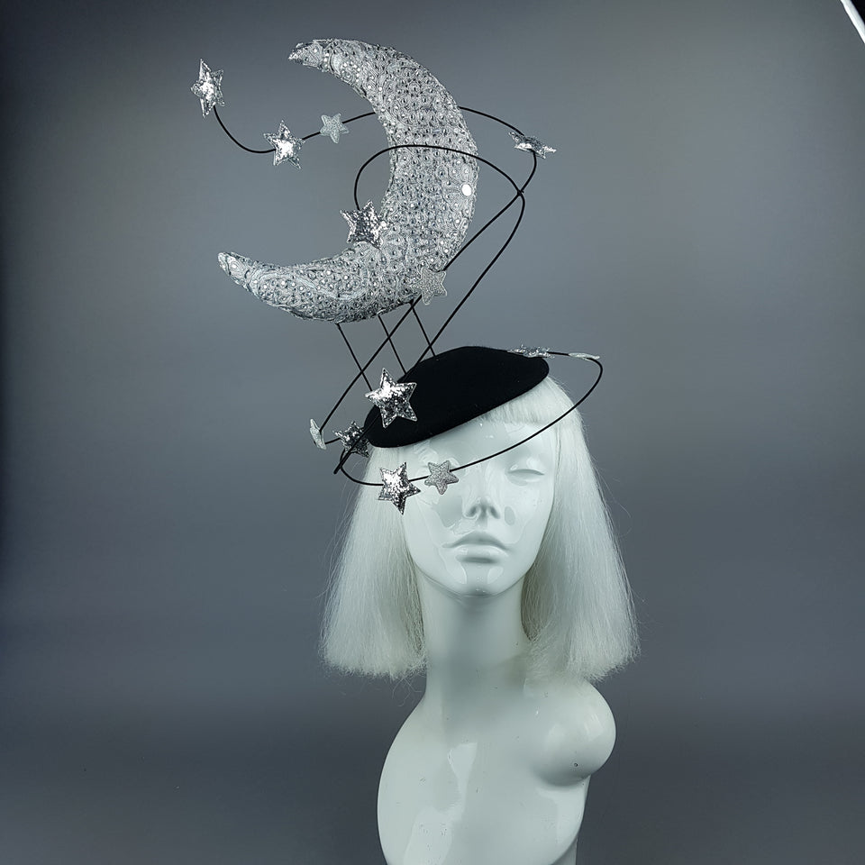 """Under The Silvery Moon"" Moon & Stars Fascinator Hat"