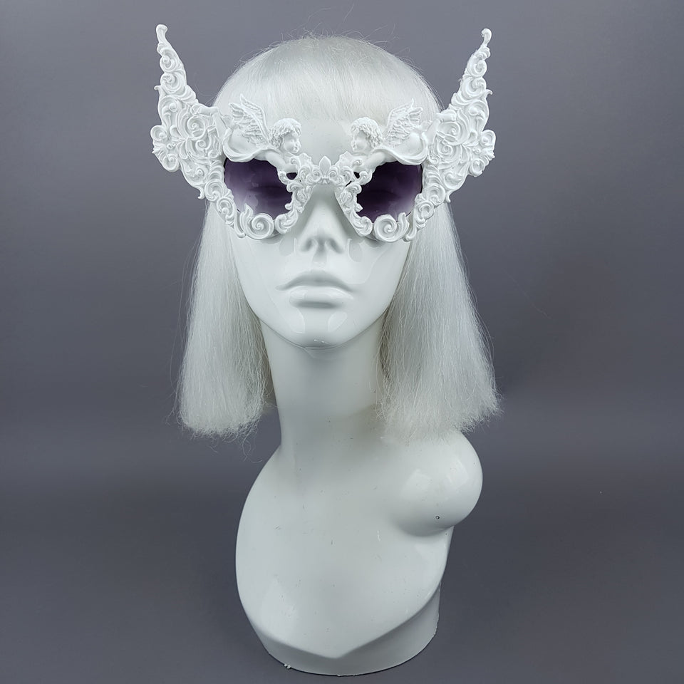 """Decadence"" Outrageous White Filigree Sunglasses"