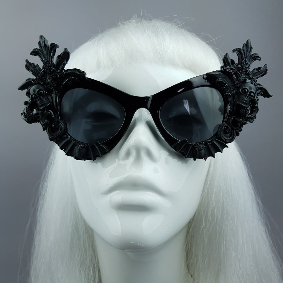 """Lilah"" Black Skull Filigree Cats Eye Sunglasses"