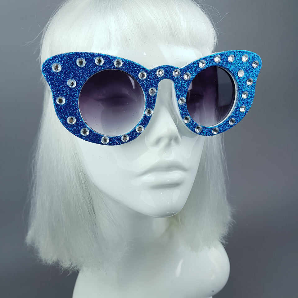 """Seiran"" Blue Glitter Butterfly Shaped Sunglasses"