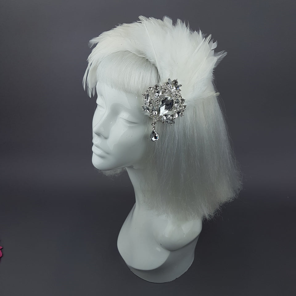 """Vespera"" Vintage Inspired Ivory Jewel Feather Fascinator"