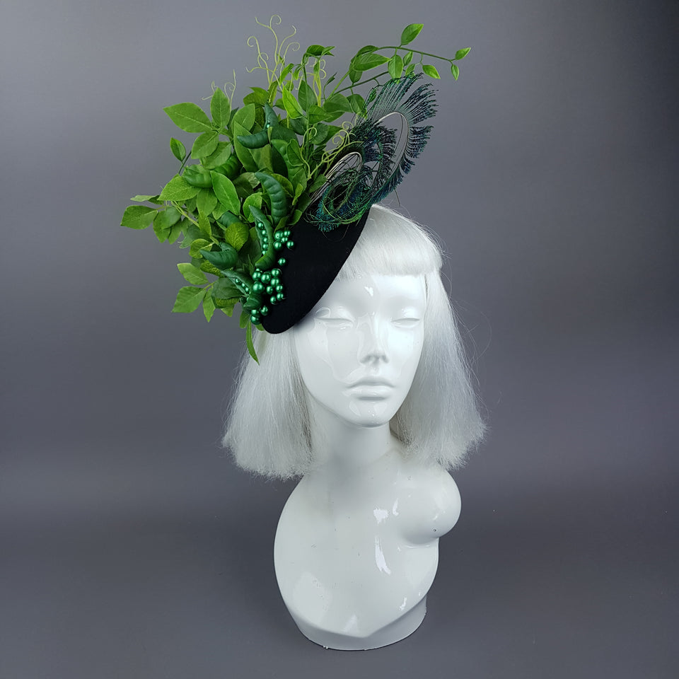 """Sugar Snap"" Peas, Peapod and Leaf Fascinator Hat"