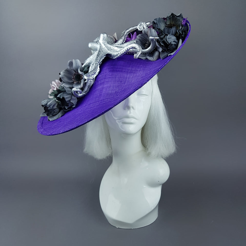 """Marcellina"" Silver Octopus & Purple Flowers Hat"