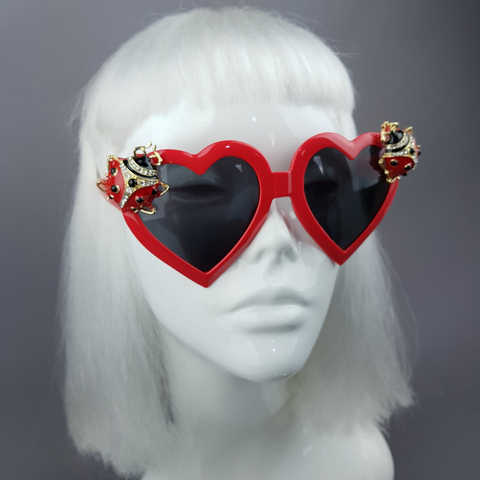 """Angelica"" Jewelled Ladybird Heart Shaped Sunglasses"
