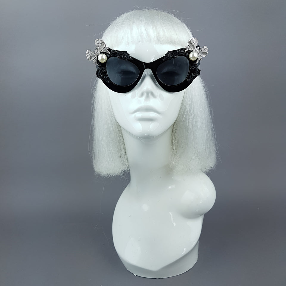 """Kiara"" Black Pearl Box Jewel Filigree Cats Eye Sunglasses"