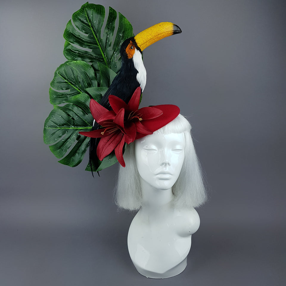 """Toco"" Toucan Jungle Leaf Fascinator Hat"