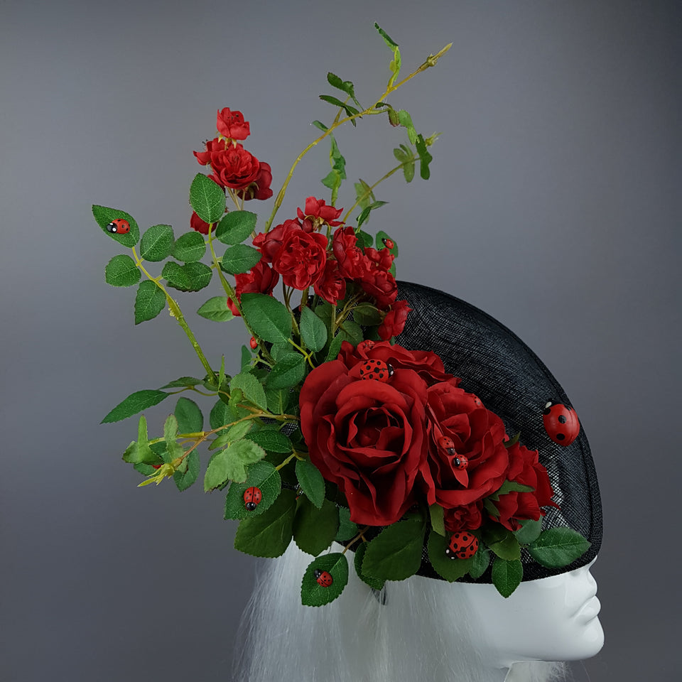 """Encantador"" Red Rose & Ladybird Fascinator Hat"