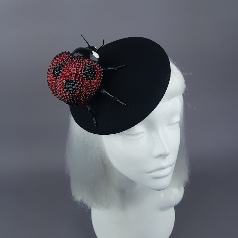 """Alyssum"" Red Crystal Ladybird Fascinator Hat"