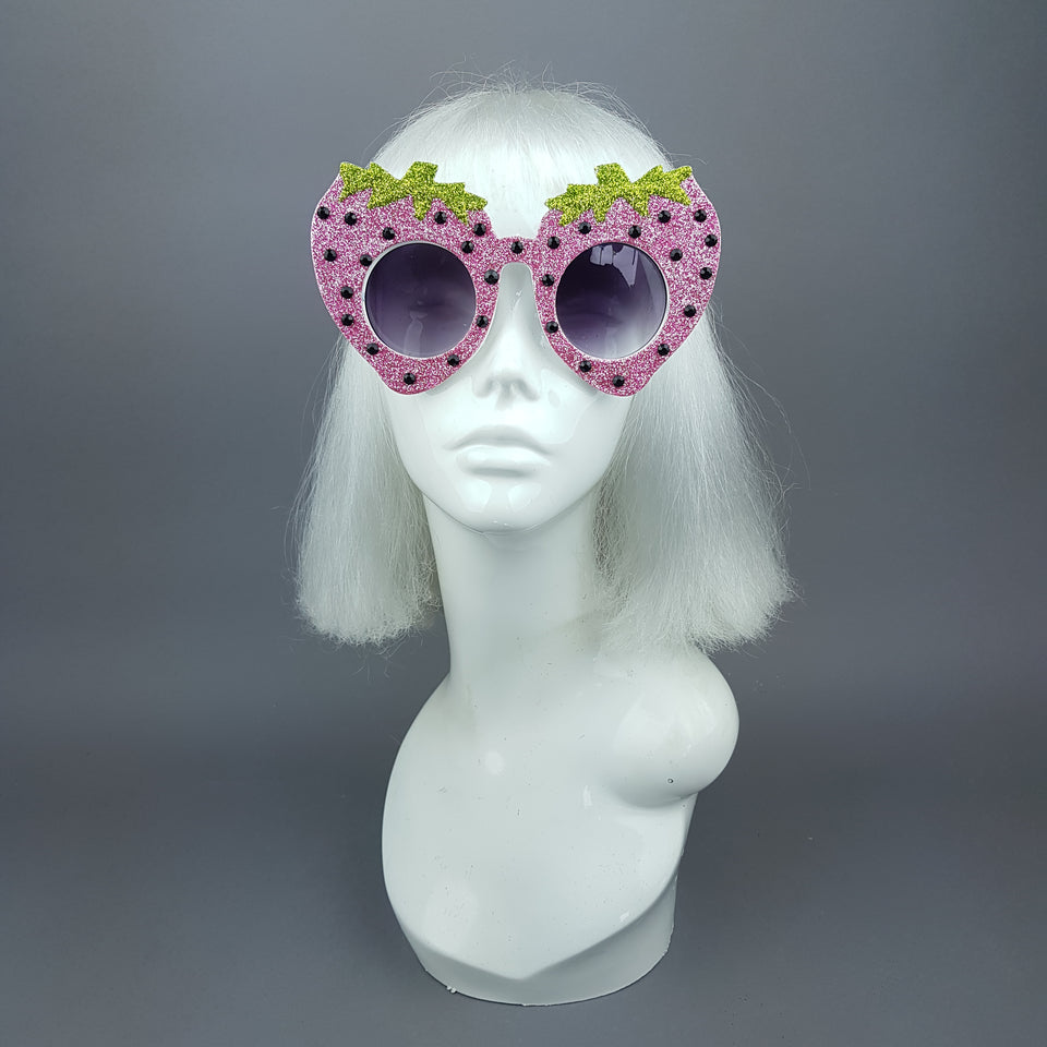 """Cupcake"" Pink Strawberry Glitter Sunglasses"