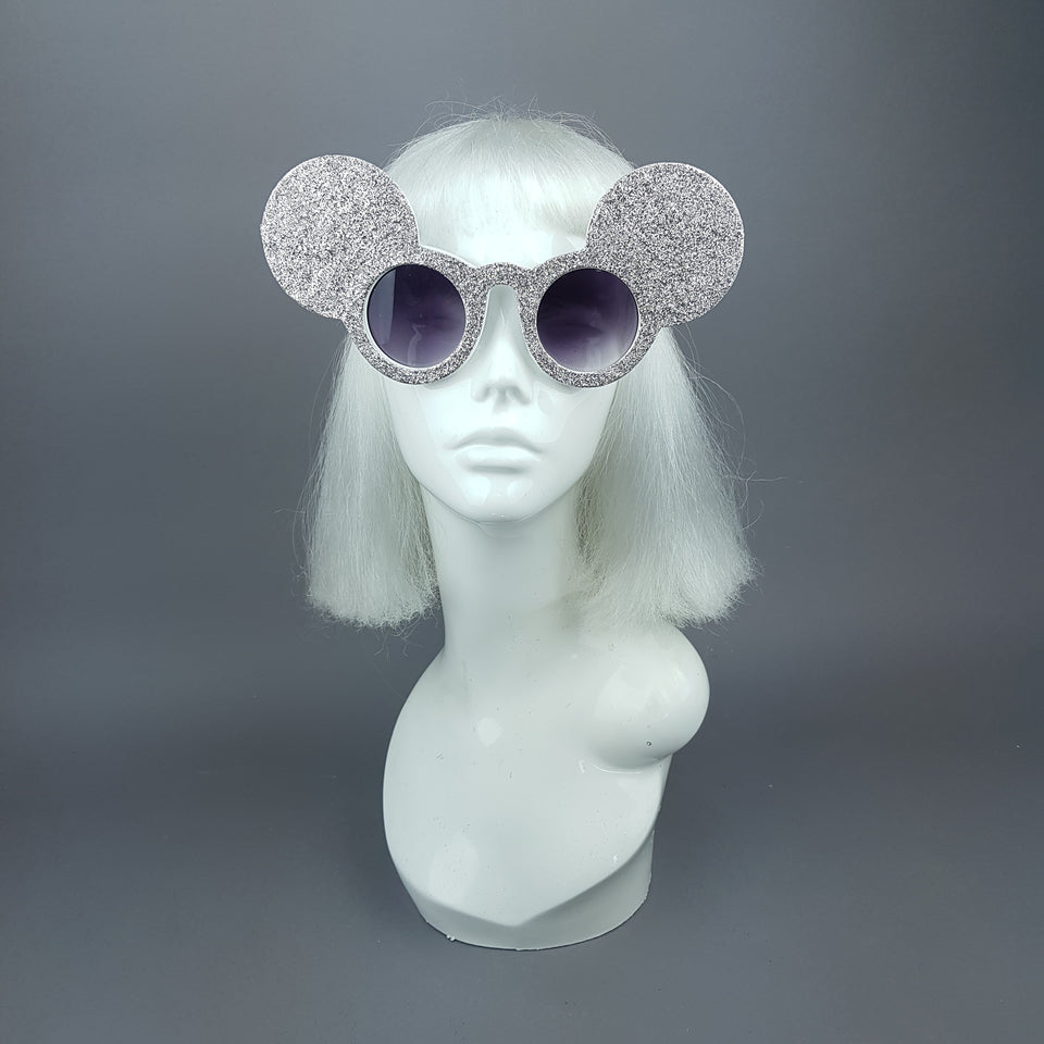 """Topo"" Silver Glitter Mouse Ear Sunglasses"
