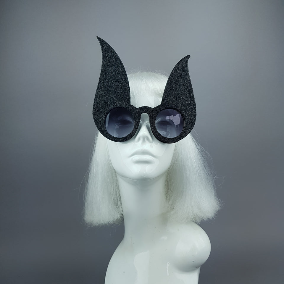 """Luppolo"" Black Glitter Bunny Rabbit Ear Sunglasses"