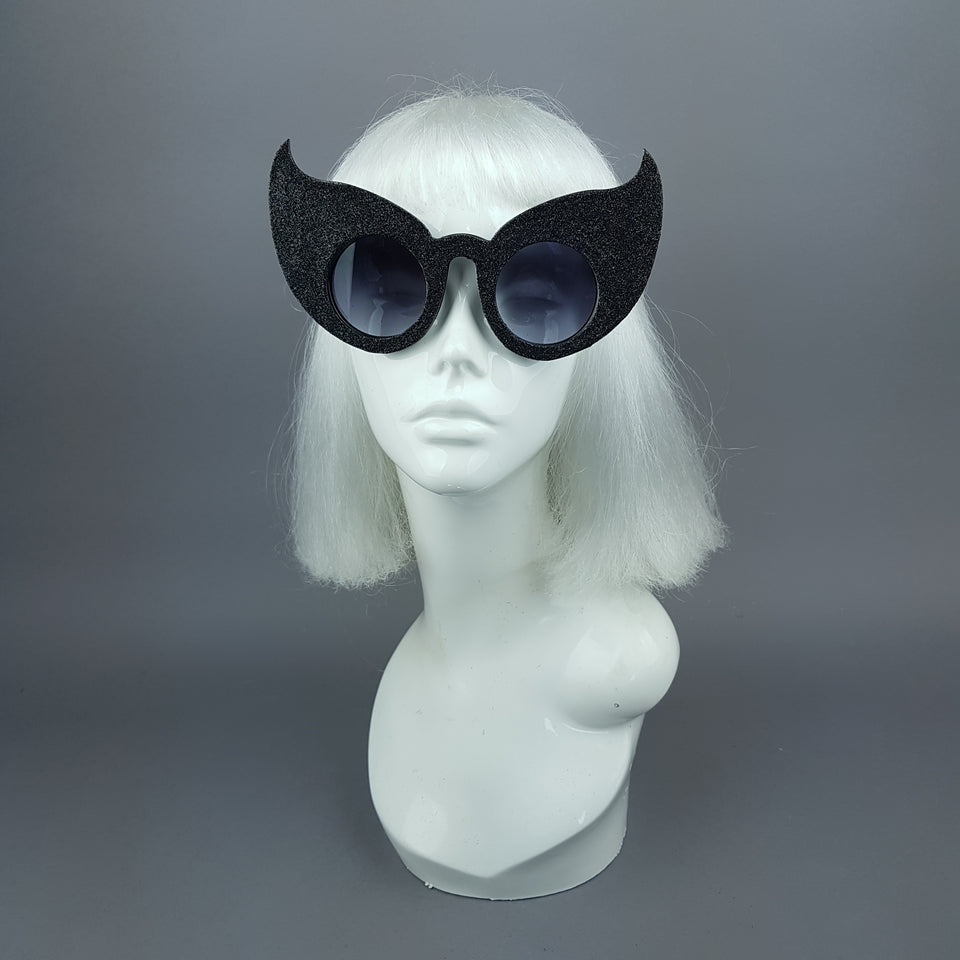 """Hex"" Black Glitter Devil Horn Sunglasses"