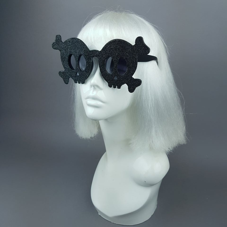 """Deadly"" Black Glitter Skull Sunglasses"
