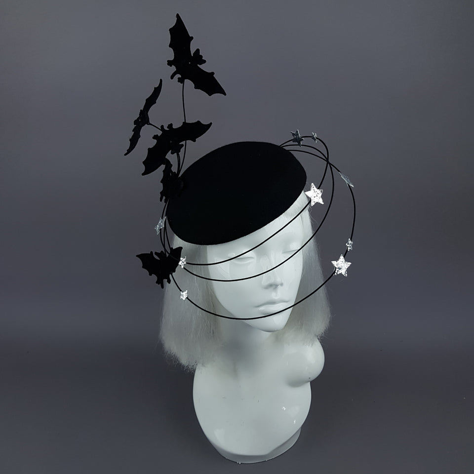 """Nisha"" Flying Bat & Silver Stars Fascinator Hat"